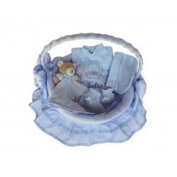 Panier osier bleu 4 pièces