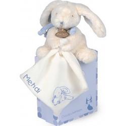 Pantin avec doudou bleu - Lapin Bonbon,doudou et compagnie