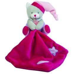 Doudou plat Les Luminescent chat rose violet étoile